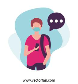 Man with medical mask bag and smartphone vector design