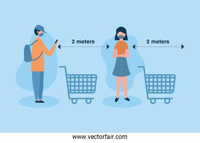 Social distancing between boy and girl with masks and carts vector design