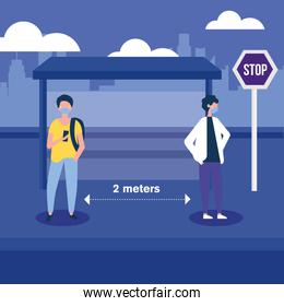 Social distancing between boys with masks at bus stop vector design