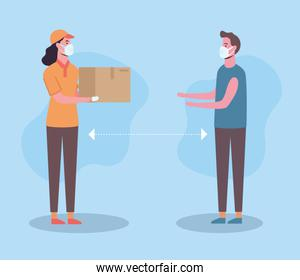 Social distancing between delivery woman and man with masks vector design