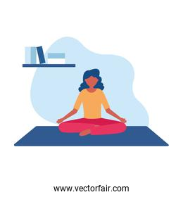 Woman doing yoga on mat at home vector design