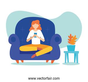 Woman with smartphone on chair at home vector design