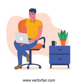 Man with laptop on chair at home vector design