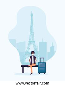 Man with medical mask and bag on airport chair at paris vector design