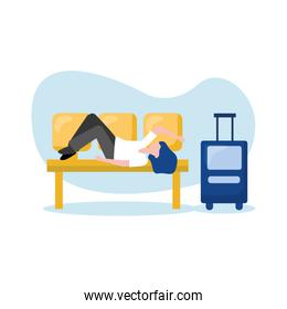 Woman with bag on airport chair vector design