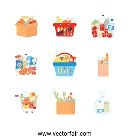 shopping baskets and grocery products icon set, detailed style