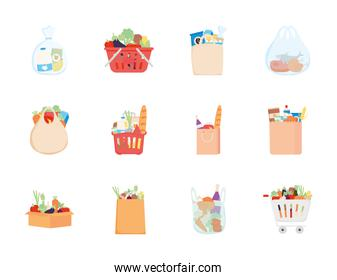 supermarket bags with food icon set, detailed style