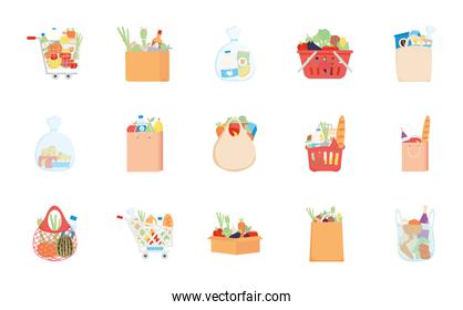 boxes with grocery products icon set, detailed style