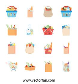 eco bags and supermarket bags with food, detailed style