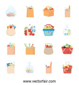 bags and boxes with grocery products icon set, detailed style