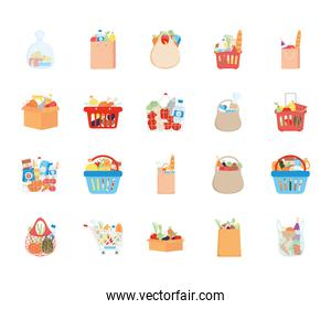 bags and shopping carts with grocery products icon set, detailed style
