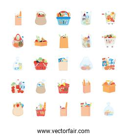 shopping carts and supermarket bags icon set, detailed style