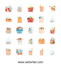 bags and shopping baskets with grocery products icon set, detailed style