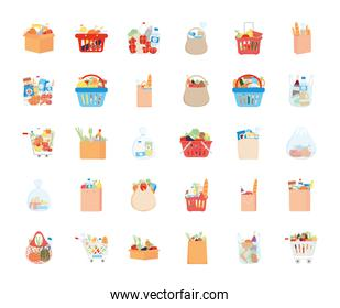 supermarket and shopping bags icon set, detailed style