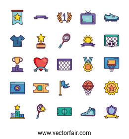 retro television and game event icon set, line color style
