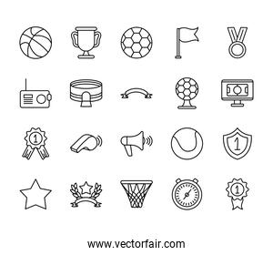 basketball ball and game event icon set, line style