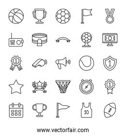 soccer ball and game event icon set, line style