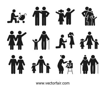 pictogram people and family icons set, silhouette style