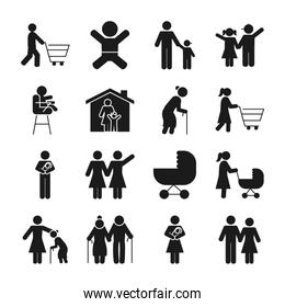 pictogram people and baby icon set, silhouette style
