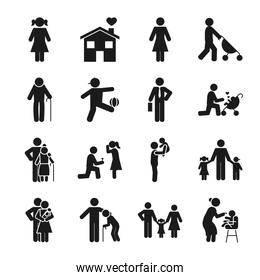 pictogram kids and people icon set, silhouette style