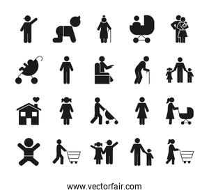 pictogram old people and family icon set, silhouette style