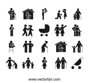old people and pictogram people icon set, silhouette style