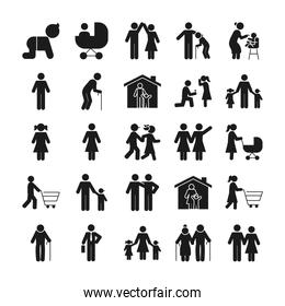pictogram people and family icon set, silhouette style