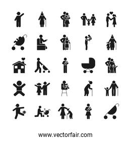 strolley and pictogram people icon set, silhouette style