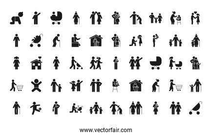 pictogram baby and family icon set, silhouette style