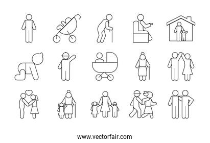 pictogram old people and people icon set, line style