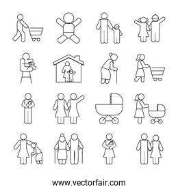 pictogram people and baby icon set, line style