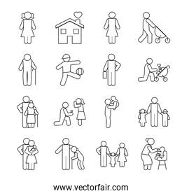 pictogram kids and people icon set, line style