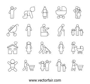 pictogram old people and family icon set, line style