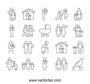 old people and pictogram people icon set, line style