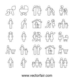 pictogram people and family icon set, line style