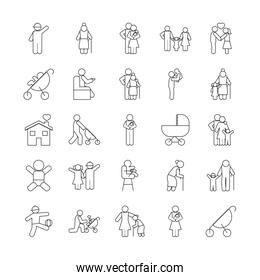strolley and pictogram people icon set, line style