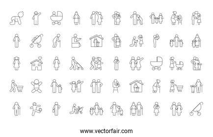 pictogram baby and family icon set, line style