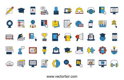 online education icon set, line and fill style