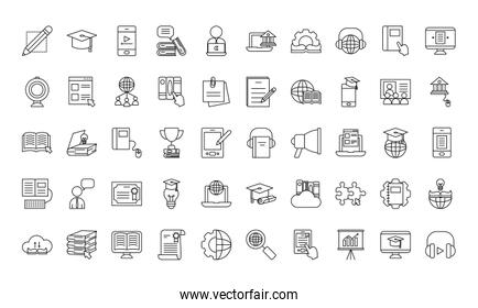 online education icon set, line style