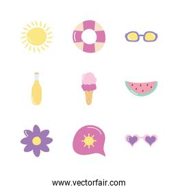 flower and Summer icon set, flat style