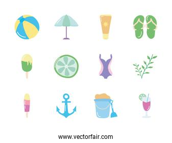 anchor and summer icon set, flat style