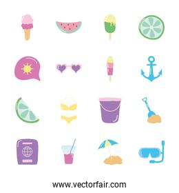 fruits and summer icon set, flat style