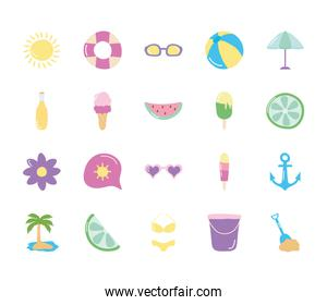 parasol and summer icon set, flat style