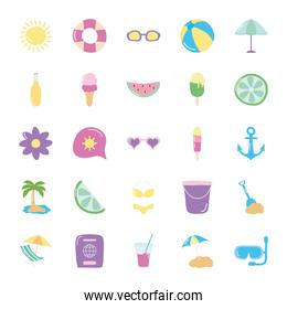 tropical palm and summer icon set, flat style