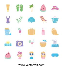 travel suitcase and Summer icon set, flat style