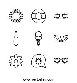 flower and Summer icon set, line style