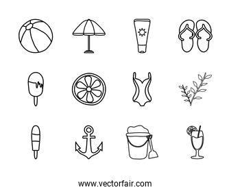 anchor and summer icon set, line style