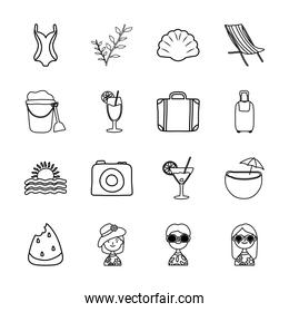 plant and Summer icon set, line style