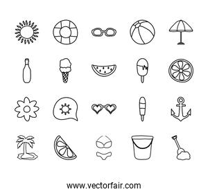 parasol and summer icon set, line style