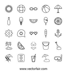 tropical palm and summer icon set, line style